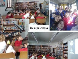 Collage di foto in biblioteca